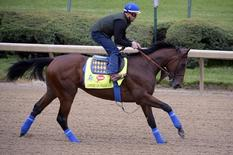 Apr 30, 2015; Lousiville, KY, USA; Exercise rider Jorge Alvarez works out American Pharaoh trained by Bob Baffert at Churchill Downs. Mandatory Credit: Jamie Rhodes-USA TODAY Sports