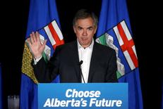 Alberta Premier and Progressive Conservative party leader Jim Prentice reacts after losing the Alberta election in Calgary, Alberta, May 5, 2015. REUTERS/Todd Korol
