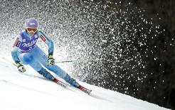 Tina Maze of Slovenia skis during the second run of the women's giant slalom race at the Alpine Skiing World Cup Finals in Meribel, in the French Alps, March 22, 2015  REUTERS/Christian Hartmann