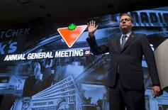 Canadian Tire Corporation CEO Michael Medline speaks during their annual general meeting for shareholders in Toronto, May 14, 2015. REUTERS/Mark Blinch