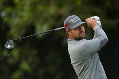 Feb 20, 2015; Pacific Palisades, CA, USA; Ryan Moore tees off on the 11th during the second round of the Northern Trust Open at Riviera Country Club. Mandatory Credit: Jake Roth-USA TODAY Sports