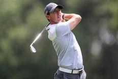 May 16, 2015; Charlotte, NC, USA;  Rory McIlroy hits his approach shot to number nine during third round play at Quail Hollow Club. Mandatory Credit: Jim Dedmon-USA TODAY Sports