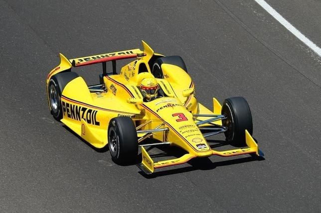 Helio Castroneves during the 2014 Indianapolis 500 at Indianapolis Motor Speedway. May 25, 2014;  Andrew Weber-USA TODAY Sports