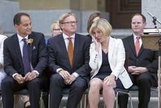 Alberta New Democratic Party (NDP) Leader Rachel Notley wipes a tear from her eye after being sworn in as Alberta's 17th premier at her official swearing-in ceremony in Edmonton, Alberta, Canada May 24, 2015. REUTERS/Topher Seguin