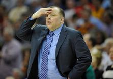 May 12, 2015; Cleveland, OH, USA; Chicago Bulls head coach Tom Thibodeau reacts in the fourth quarter against the Cleveland Cavaliers in game five of the second round of the NBA Playoffs at Quicken Loans Arena. Mandatory Credit: David Richard-USA TODAY Sports