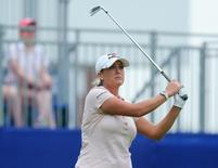 Jun 11, 2015; Harrison, NY, USA;  Cristie Kerr hits from the1st tee during the KPMG Women's PGA Championship at Westchester Country Club - West. Mandatory Credit: Brad Penner-USA TODAY Sports