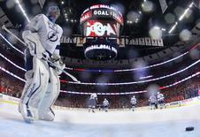 Tampa Bay Lightning goalie Ben Bishop (30) reacts after giving up a goal to Chicago Blackhawks defenseman Duncan Keith (not pictured) in the second period. Bruce Bennett/Pool Photo via USA TODAY Sports