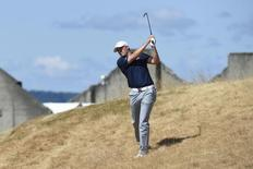 Jun 19, 2015; University Place, WA, USA; Jordan Spieth plays from the rough on the 18th hole in the second round of the 2015 U.S. Open golf tournament at Chambers Bay. Mandatory Credit: Michael Madrid-USA TODAY Sports