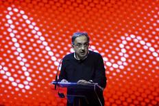 Fiat Chrysler Automobiles (FCA) Chief Executive Sergio Marchionne talks during the launch of a new Alfa Romeo car in Milan, Italy in this June 24, 2015 handout photo.  REUTERS/Fabio Ferrari - LaPresse/Handout via Reuters