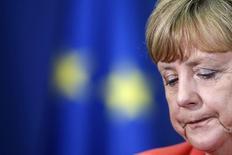 Chanceler da Alemanha, Angela Merkel, durante entrevista coletiva com o primeiro-ministro da Sérvia, Alexandar Vucic, em Belgrado, na Sérvia, nesta quarta-feira. 08/07/2015 REUTERS/Marko Djurica