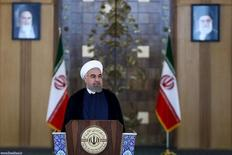 Iran's President Hassan Rouhani delivers a speech to the nation in Tehran, Iran July 14, 2015. . REUTERS President.ir/Handout