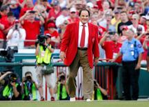 Jul 14, 2015; Cincinnati, OH, USA; Pete Rose is honored prior to the 2015 MLB All Star Game at Great American Ball Park. Mandatory Credit: Rick Osentoski-USA TODAY Sports