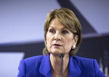 Chief Executive Officer of Lockheed Martin Corp Marillyn Hewson speaks to journalists at a news conference at the 2014 Farnborough International Airshow in Farnborough, southern England July 14, 2014.    REUTERS/Kieran Doherty