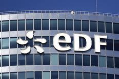 EDF, à suivre jeudi à la Bourse de Paris. Le groupe a annoncé un protocole d'accord en vue de racheter entre 51% et 75% du capital de l'activité réacteurs d'Areva (Areva NP) sur la base d'une valorisation de 2,7 milliards d'euros. /Photo d'archives/REUTERS/Benoît Tessier