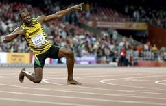 Usain Bolt of Jamaica reacts after winning the men's 200m final during the 15th IAAF World Championships at the National Stadium in Beijing, China August 27, 2015.  REUTERS/Lucy Nicholson