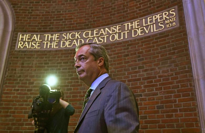 Nigel Farage, the leader of Britain's anti-EU UK Independence Party (UKIP) speaks at the launch of the party's EU referendum campaign, in London, Britain September 4, 2015.  REUTERS/Toby Melville