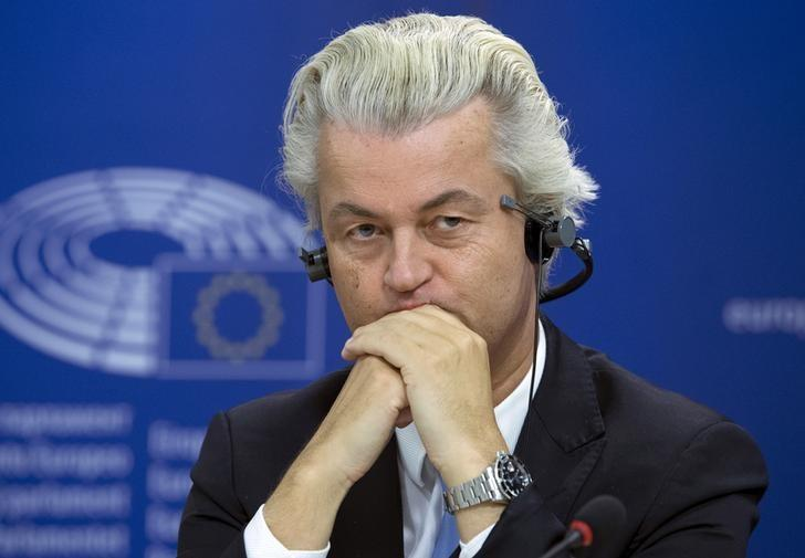 Dutch far-right Party for Freedom (PVV) leader Geert Wilders attends a joint news conference at the European Parliament in Brussels, Belgium, June 16, 2015.  REUTERS/Yves Herman