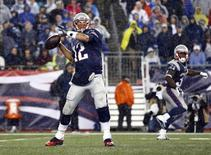 New England Patriots quarterback Tom Brady (12) throws the ball against the Pittsburgh Steelers during the second half at Gillette Stadium. Mark L. Baer-USA TODAY Sports