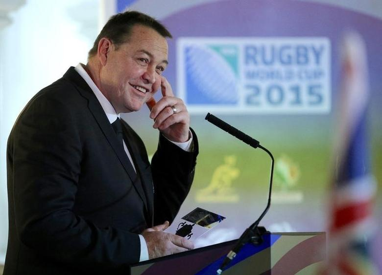 New Zealand head coach Steve Hansen speaks during the welcome ceremony.Action Images via Reuters / Andrew Couldridge