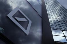 A Deutsche Bank logo adorns a wall at the company's headquarters in Frankfurt, Germany June 9, 2015. REUTERS/Ralph Orlowski