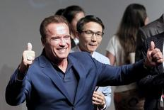 """Actor Arnold Schwarzenegger attends a promotional tour for the film """"Terminator Genisys"""" in Shanghai, China, in this file photo taken August 19, 2015.  REUTERS/Aly Song/Files"""