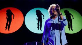 """Roger Daltrey of The Who performs during the opening night of their North American tour, """"The Who Hits 50"""", at Amalie Arena in Tampa, Florida, April 15, 2015. REUTERS/Scott Audette"""
