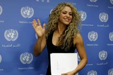 Colombian singer and UNICEF Goodwill Ambassador Shakira appears at a news conference at United Nations headquarters in New York, September 22, 2015.   REUTERS/Mike Segar