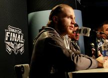 Chicago Blackhawks player Patrick Kane talks with media during media day the day before the 2015 Stanley Cup Final in Tampa, Florida June 2, 2015.  Kim Klement-USA TODAY Sports/Files