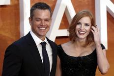 """Atores Matt Damon e Jessica Chastain em lançamento de """"Perdido em Marte"""" em Londres.  24/9/2015.  REUTERS/Stefan Wermuth"""