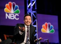 """Jimmy Fallon, host of """"The Tonight Show Starring Jimmy Fallon"""",  takes part in a panel discussion at the NBC portion of the 2014 Winter Press Tour for the Television Critics Association in Pasadena, California, January 19, 2014. REUTERS/Gus Ruelas"""