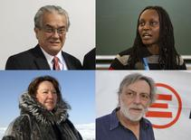 Marshall Islands Foreign Minister Tony de Brum (top L), Ugandan Kasha Jacqueline Nabagesera (top R), Canadian Sheila Watt-Cloutier (bottom L) and Italian Gino Strada are seen in these undated handout photos released by TT News Agency. Tony de Brum and the People of the Marshall Islands, Sheila Watt-Cloutier, Kasha Jacqueline Nabagesera and Gino Strade / EMERGENCY are the Right Livelihood Award laureates of 2015.  REUTERS/Tobias Boley/Stephen Lowe/Claudio Testa/TT News Agency