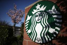 A Starbucks logo on a store in Los Angeles, California, March 10, 2015.  REUTERS/Lucy Nicholson