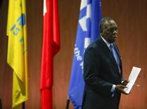 Issa Hayatou, Senior Vice President of the FIFA walks after delivering his speech at the 65th FIFA Congress in Zurich, Switzerland, May 29, 2015.  REUTERS/Ruben Sprich