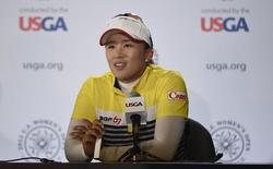 Jul 11, 2015; Lancaster, PA, USA; Amy Yang answers questions at a press conference after the third round of the 2015 U.S. Women's Open at Lancaster Country Club. Mandatory Credit: Kyle Terada-USA TODAY Sports