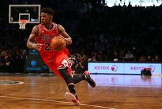 Oct 28, 2015; Brooklyn, NY, USA;  Chicago Bulls guard Jimmy Butler (21) drives the ball during the fourth quarter against the Brooklyn Nets at Barclays Center. Chicago won 115-100. Mandatory Credit: Anthony Gruppuso-USA TODAY Sports