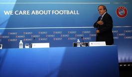 Then UEFA President Michel Platini attends a news conference after the draw for the 2015/2016 UEFA Europa League soccer competition at Monaco's Grimaldi Forum in Monte Carlo, Monaco August 28, 2015.   REUTERS/Eric Gaillard