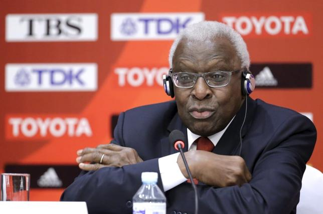 Then-outgoing President of the International Association of Athletics Federations (IAAF) Lamine Diack attends a news conference in Beijing in this August 20, 2015 file photo. REUTERS/Jason Lee/Files