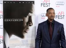 "Cast member Will Smith poses during the premiere of the film ""Concussion"" during AFI Fest 2015 in Hollywood, California, November 10, 2015. REUTERS/Kevork Djansezian"