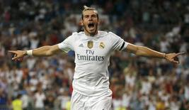 Bale comemora gol do Real Madrid contra o Betis.  29/8/2015. REUTERS/Andrea Comas