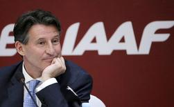 Newly elected President of International Association of Athletics Federations Sebastian Coe listens to a question at a news conference in Beijing, August 19, 2015. REUTERS/Jason Lee