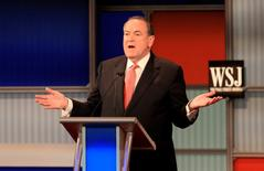 Mike Huckabee speaks at a forum for lower polling candidates held by Fox Business Network before the U.S. Republican presidential candidates debate in Milwaukee, Wisconsin, November 10, 2015. REUTERS/Darren Hauck