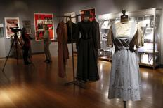 """The """"Dorothy"""" dress warn by Judy Garland in The Wizard of Oz is seen during a media preview of Bonhams and Turner Classic Movies Treasures from the Dream Factory at Bonhams in New York November 19, 2015.  REUTERS/Shannon Stapleton"""