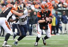 Cincinnati Bengals quarterback Andy Dalton (14) looks to pass in the first half against the St. Louis Rams at Paul Brown Stadium.  Aaron Doster-USA TODAY Sports