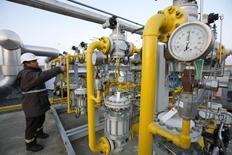 Рабочий газового хранилища Turkish Petroleum Corporation проверяет вентили. 7 января 2009 года. Поставки газа в Турцию стабильны и идут на уровнях, близких к максимальным, по обоим маршрутам - и по западному через Балканы, и по подводному трубопроводу Голубой поток, сказал в четверг источник в Газпроме. REUTERS/Osman Orsal