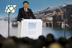 China's President Xi Jinping speaks during the opening ceremony of the 2nd annual World Internet Conference in Wuzhen town of Jiaxing, Zhejiang province, China, December 16, 2015. REUTERS/Aly Song