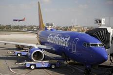 Southwest Airlines planes are seen at LAX airport in Los Angeles, California, United States, October 22, 2015. Wall Street opened higher on Thursday, and Southwest Airlines rose 5.9 percent to $43.47 after the company reported strong results. REUTERS/Lucy Nicholson