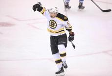 Boston Bruins left wing Brad Marchand (63) celebrates his short-handed goal against the Toronto Maple Leafs at Air Canada Centre. Tom Szczerbowski-USA TODAY Sports