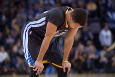 January 2, 2016; Oakland, CA, USA; Golden State Warriors guard Stephen Curry (30) reacts during the second quarter against the Denver Nuggets at Oracle Arena. The Warriors defeated the Nuggets 111-108 in overtime. Mandatory Credit: Kyle Terada-USA TODAY Sports
