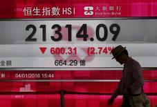 Homem passa por painel mostrando cotação do índice Hang Seng em Hong Kong. 04/01/2016 REUTERS/Bobby Yip