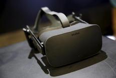 Dispositivo de realidade virtual em exibição após evento da Oculus em San Francisco. 11 de junho de 2015. REUTERS/Robert Galbraith